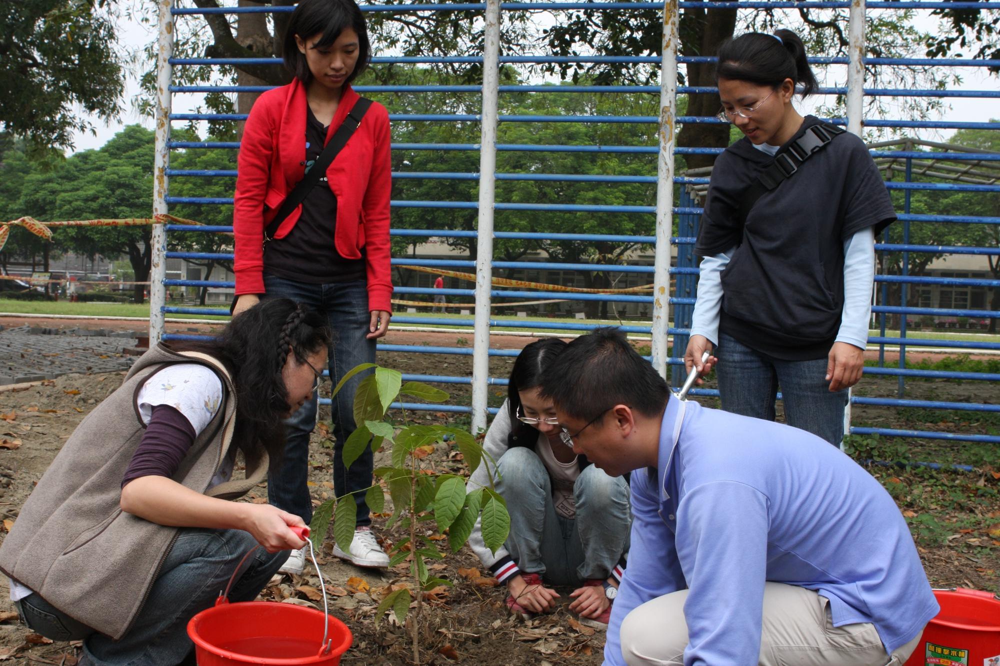 觀樹教育基金會成員在本館種下一棵黃金蝙蝠的棲樹